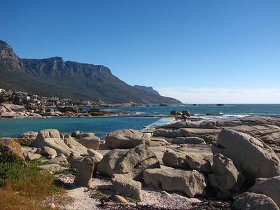 View down the coast from Camp's Bay toward the Cape of Good Hope.