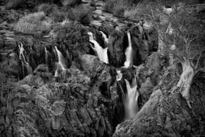 Epupa waterfalls in Black and White, Namibia