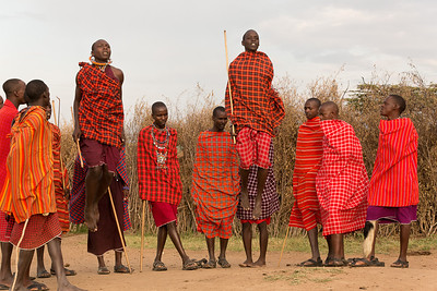 Masai warrior dancing and jumping, Kenya.  This is the jump off.