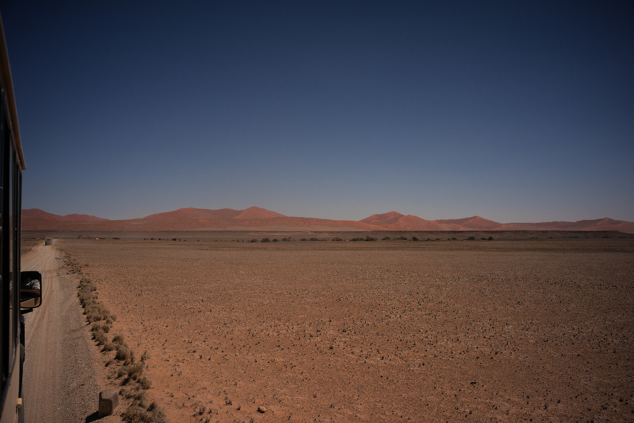 We see the beginnings of the Namib desert at Sossusvlei.