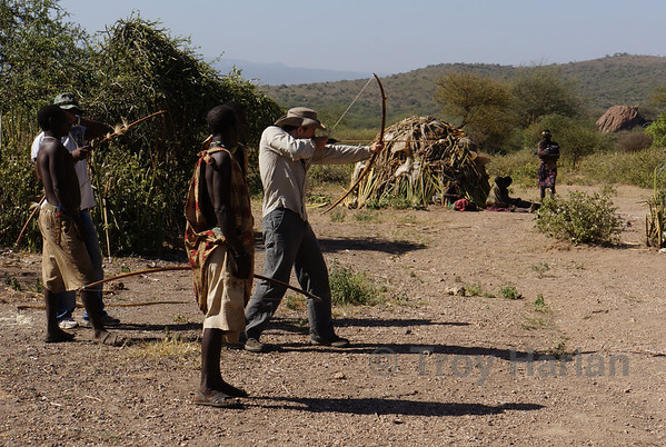 Shooting bow and arrow with the Hadzabe bushmen