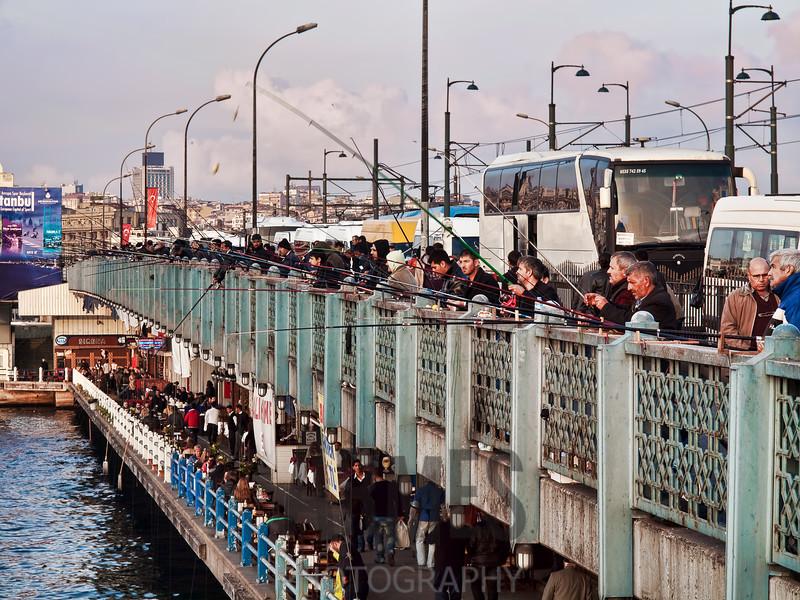 Fishermen on the Galata Bridge, Istanbul, Turkey