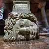 Block carved with the visage of Medusa, believed to be from a building of the late Roman period and recycled for use as a column base! <br /> Basilica Cistern, Istanbul, Turkey