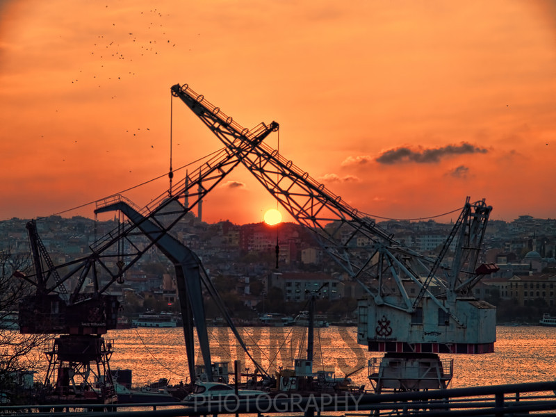 Disused shipyard on the banks of the Golden Horn, Istanbul, Turkey