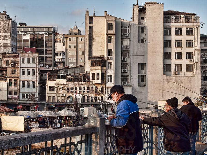Fishing from the Galata Bridge, Istanbul, Turkey