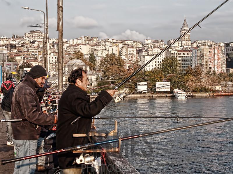 Fishing on the Ataturk Bridge, Istanbul, Turkey