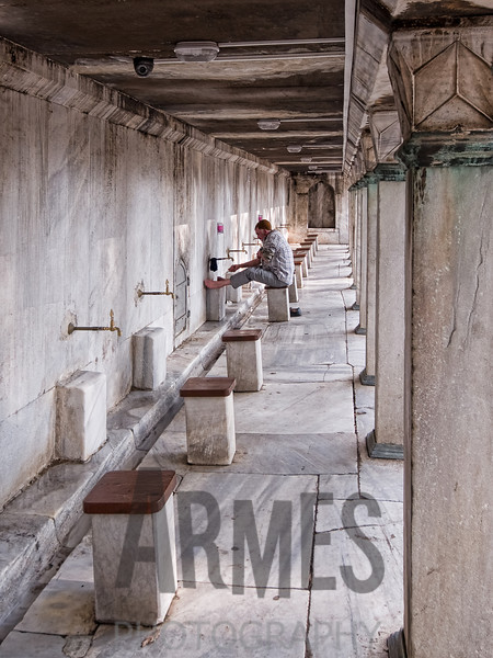 Ablutions before prayer<br /> Sultan Ahmed Mosque (Blue Mosque), Istanbul, Turkey