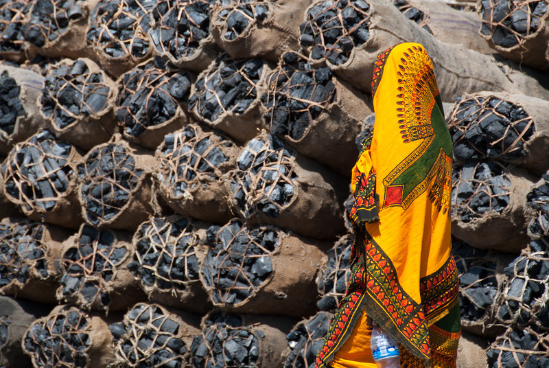 """<span id=""""title"""">Charcoal</span> I remember running ahead so I could photograph this brightly colored woman as she walked in front of the charcoal bundles for sale. What a contrast."""