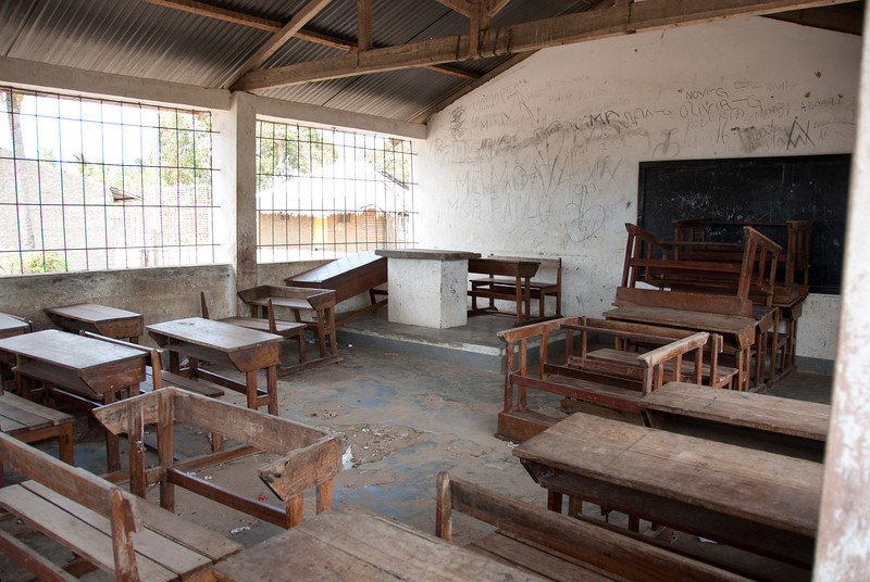 "<span id=""title"">Classroom</span> Although the doors were locked (it was Sunday), we peeked into this 2-room neighborhood primary school. It's sad to see how few resources they have."