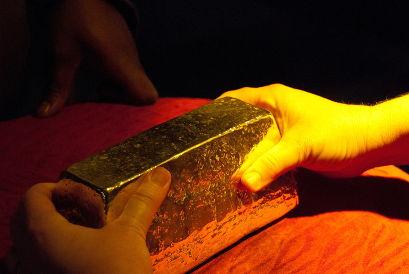 """<span id=""""title"""">Solid Gold</span> <em>Gold Reef City, Johannesburg</em> While they didn't pour actual gold during the demonstration, the <em>did</em> bring out this real gold bar that we got to touch and pick up. Spoiler: it's heavier than it looks."""