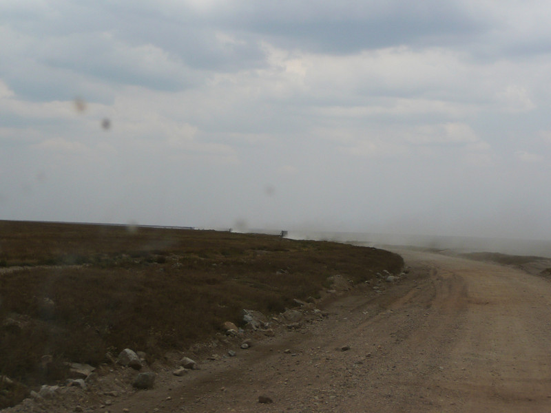 the dusty road out of the serengeti