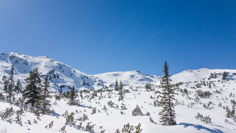 Im Plannerkessel etwas abseits des Skigebiets
