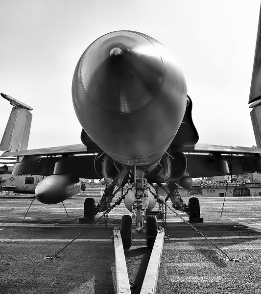 F-18 Hornet Nose Shot on Flight Deck of USS Harry S. Truman (CVN 79). Black and White Photography
