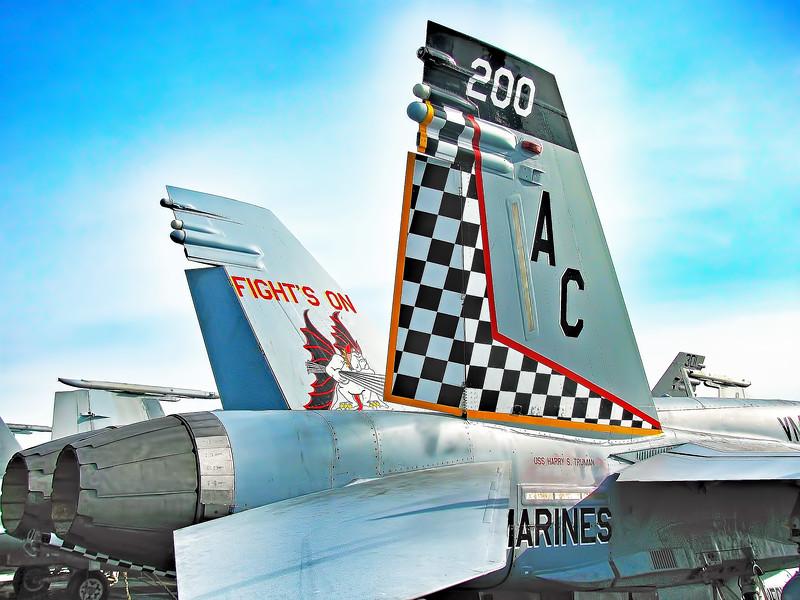 Marine F/A-18 Checkerboard from Marine Fighter Attack Squadron 312 on Flight Deck of Carrier USS Harry S. Truman (CVN 75)