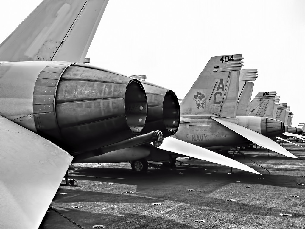 Tailhook Side F/A-18 Hornets on Flight Deck USS HST (CVN 75). Black and White Photography