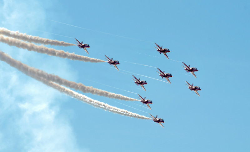 SOUTHPORT, ENGLAND - JULY 23: Hawk T Red Arrow jets from the British Air Force perform aerobatics and mid air stunts. Photo by Christian Wilkinson.