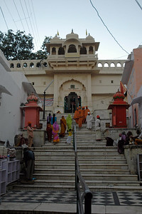 Steps leading to the temple. The Brahma temple located in Pushkar, Rajasthan is one of the important Hindu pilgrim centre. It is just 10 km from Ajmer, Rajasthan.
