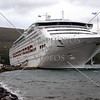 A cruise ship docked at the port in Akureyri, Iceland.