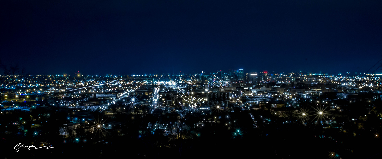 "Birmingham Alabama looks like a treasure chest of jewels - as seen from ""The Club"" on Red Mountain."