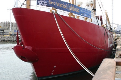 The lightship Relief is available for free tours. Note the unusual mushroom anchor in front. Lightships moored semipermanently out in the water where it was impractical to build lighthouses, and this style of anchor plus a thousand feet of heavy chain enabled it to stay in one spot.