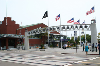 """Entrance to Jack London Square, which is basically a """"shopping destination"""" under construction. A cabin in which Jack London used to live is located here somewhere, but we didn't go looking for it."""
