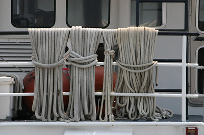 I liked the looks of the ropes neatly hanging from the Potomac's railing.