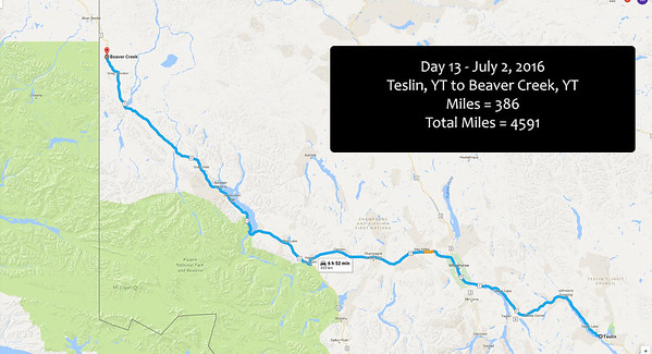 Day 13 - July 2, 2017 - Teslin to Beaver Creek