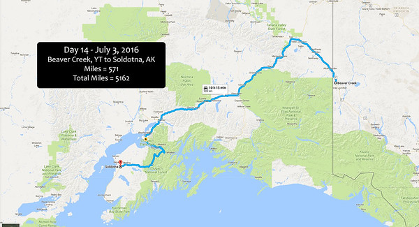 Day 14 - July 3, 2016 - Beaver Creek to Soldotna