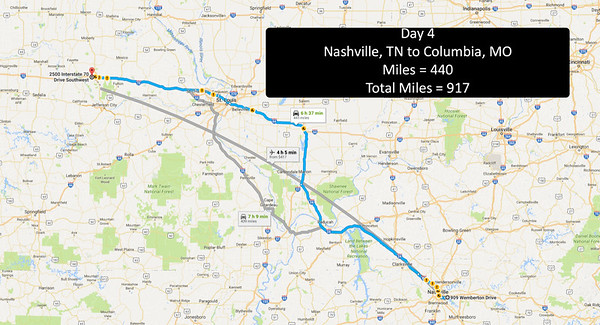 Day 4 - June 23, 2016 - Nashville to Columbia, MO