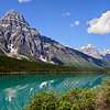 Mount Chephren across Waterfowl Lake along the Icefields Parkway in Banff National Park Alberta Canada - June 29, 2016