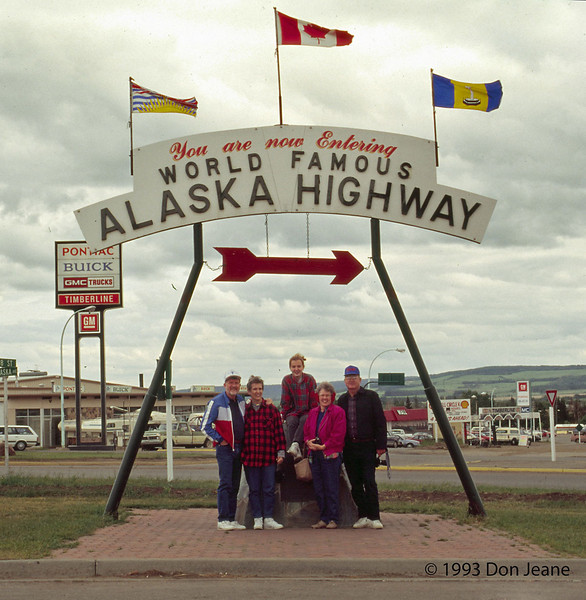 Milepost 0, Alaska Hwy, Dawson Creek, BC.<br /> The Jeanes & Stantons.