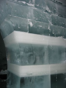 "The ice blocks used for interior structures come from the lake. These blocks show variations in the ice, AKA ""Alaska marble"" (opaque) and ""Alaska diamonds"" (clear)."