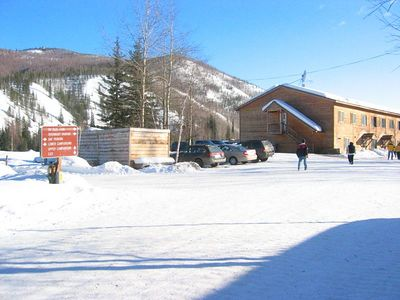 Chena Hot Springs Resort, 60 miles NE of Fairbanks, at the end of Chena Hot Springs Road. Lovely place! Dog mushing, hiking, skiing, scenic air tours, hot springs, Snow Cat rides.