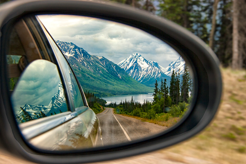 View on the side mirror when leaving Skagway