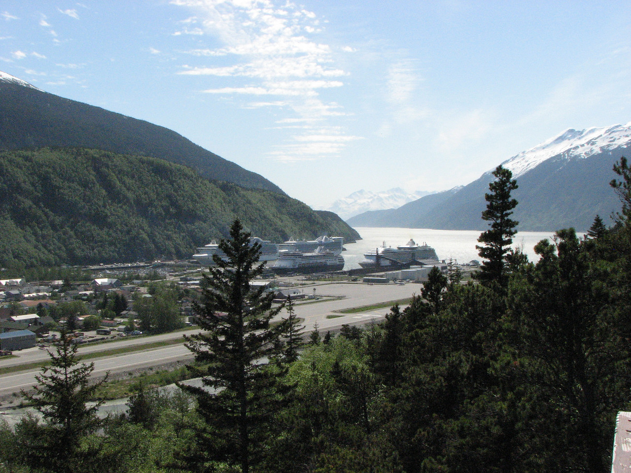 Golden Princess at Skagway - May 27. It is the one on the right at the Railroad Dock.