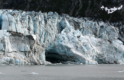 Lamplugh Glacier with large ice cave.