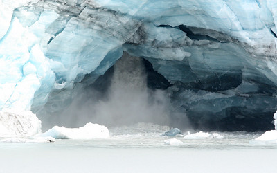 Water flowing from under the Lamplugh Glacier.