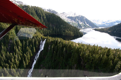Looking back at Goat Lake after take off.