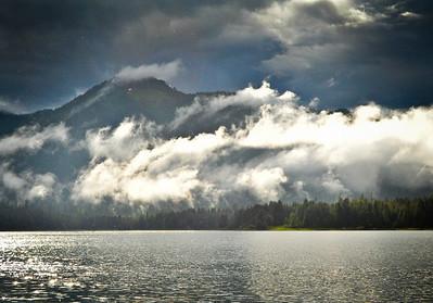 Clearing aftenoon rainstorm, from Petersburg Harbor, Alaska