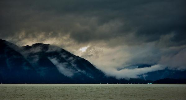 Fog, iceburgs, near Coney Island, Alaska