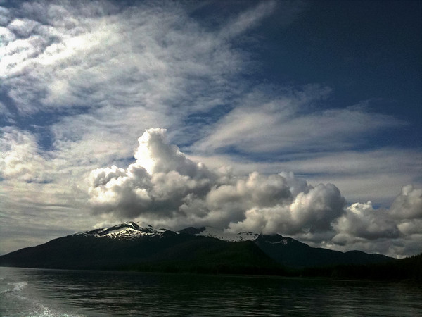 Afternoon clouds over mountians, Petersburg, Alaska  Taken with iPhone