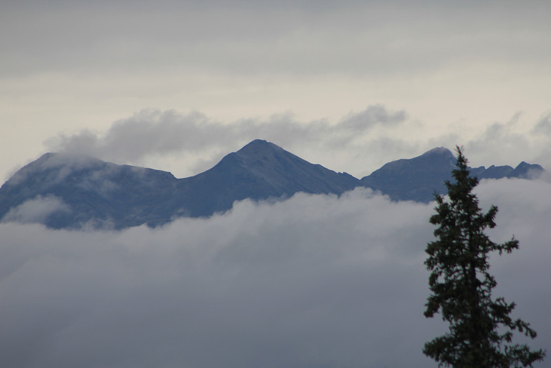 This was not one of those days. Denali is somewhere behind these smaller mountains.