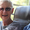 Mom on board the bus for a natural history tour of Denali National Park.