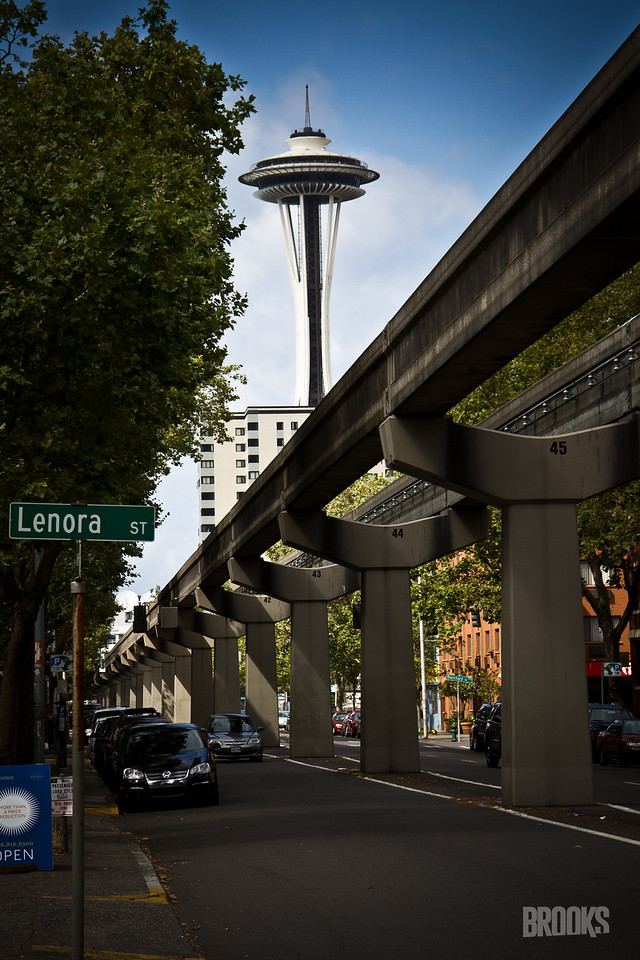 Space Needle and monorail, Seattle Washington