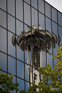 Reflection of the Space Needle in Seattle