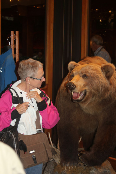Mom encounters our first Alaskan Brown Bear at Captain Hook's gift shop Thursday morning July 29th.