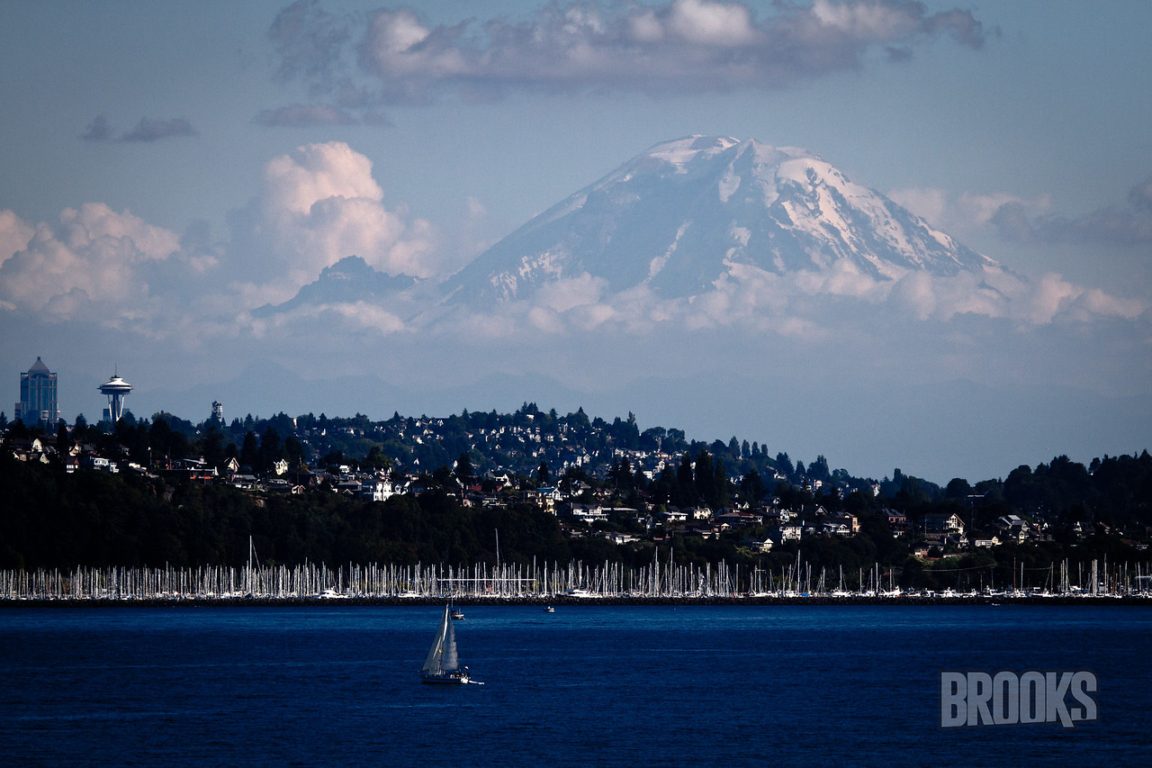 Seattle, with Mt Rainier in the background