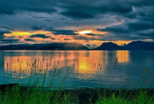 Dawn over Glaciers, Kachemak Bay, Homer, Alaska