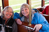 Diane and Linda on a trolley in downtown Anchorage.