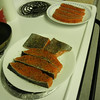 The copper river salmon cleaned and marinated, ready to cook.
